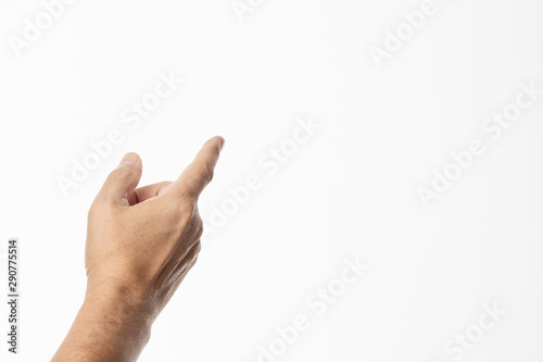 male hand pointing up and left with the index finger isolated on white backgroun Wallpaper Mural