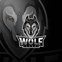 Grey Wolf Head Gaming Logo