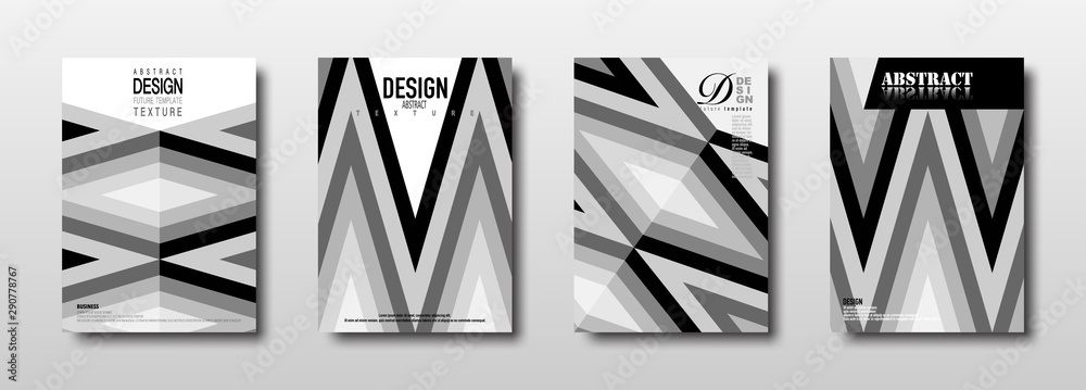 Fototapeta Future template design with monochrome rhombus texture collection