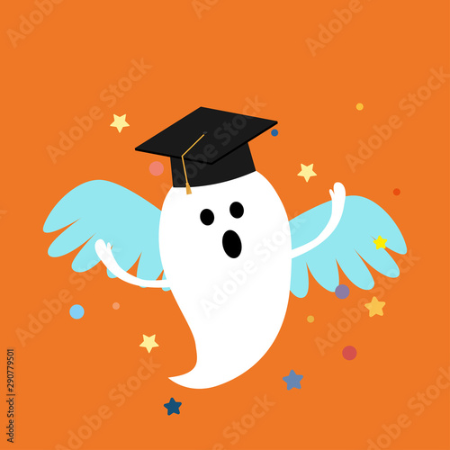 Halloween ghost with wings and graduation cap Wallpaper Mural