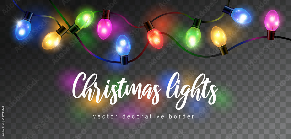 Fototapety, obrazy: Vector beautiful colorful shining christmas lights garland isolated on dark background - decorative border
