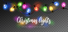 Vector Beautiful Colorful Shining Christmas Lights Garland Isolated On Dark Background - Decorative Border