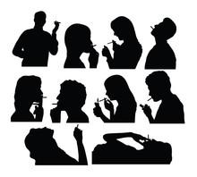 Smoker Silhouettes, Art Vector...