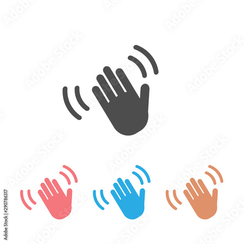 Hand wave waving hi or hello gesture line art vector icon set for apps Canvas Print