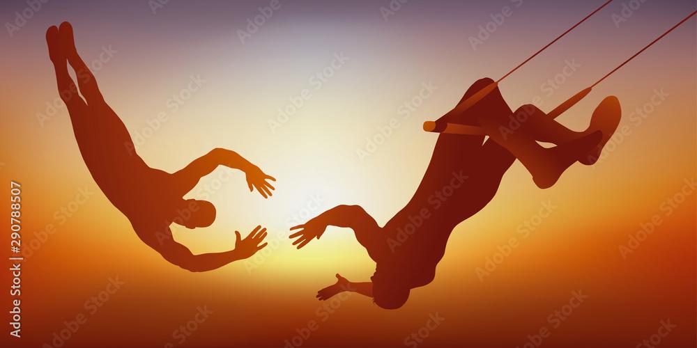 Fototapety, obrazy: Le concept de la confiance dans son partenaire, avec un spectacle de cirque en duo montrant deux trapézistes qui font un numéro de voltige.