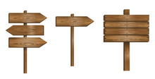 Set Wooden Sign Vector