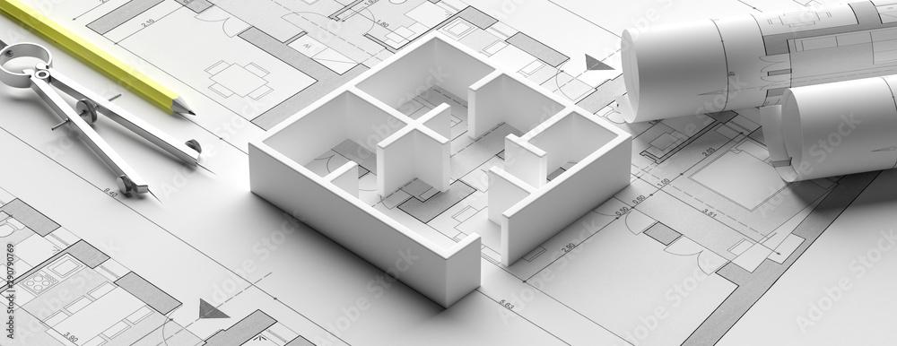Fototapeta Residential building blueprint plans and house model, banner. 3d illustration