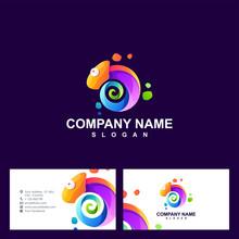 Chameleon Logo Design Vector Illustration