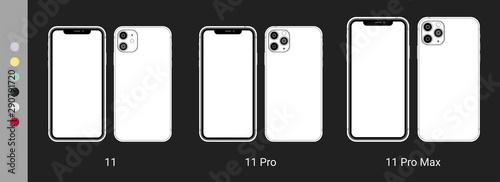 Fotografia  New Iphone 11 Pro Max flat graphic illustration.