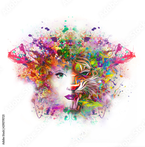 Abstract tiger and woman face in bright colors - Illustration
