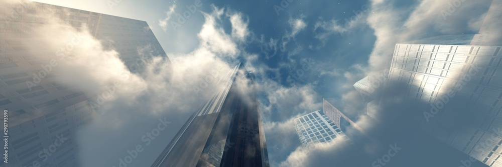 Fototapety, obrazy: Beautiful clouds with skyscrapers. Modern buildings in the clouds. 3d rendering.