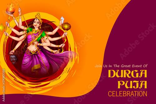 Obraz na plátně  easy to edit vector illustration of Happy Durga Puja India festival holiday back