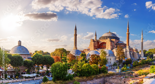 Wall Murals Old building Beautiful panorama of Hagia Sophia, Istanbul, Turkey
