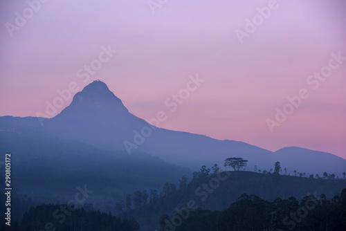 Foto op Plexiglas Purper Sri Pada, Adam's peak in Sri Lanka