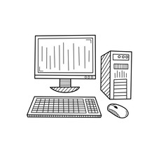 Hand Drawn Personal Computer, Pc Isolated On A White. Sketch. Vector Illustration.
