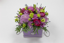 Perfect Flower Arrangement (Rose, Chrysanthemum, Eustoma, Lavender) In Red And Lilac Colors On A Light Background