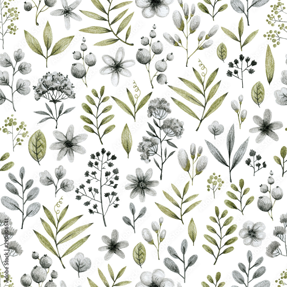 Fototapety, obrazy: green and gray leaves branches and flowers, freehand drawing in pencil illustration, frame template for design of wedding invitations, background