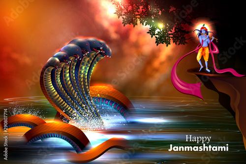 easy to edit vector illustration of Lord Krishna playing flute on Happy Janmasht Fototapet