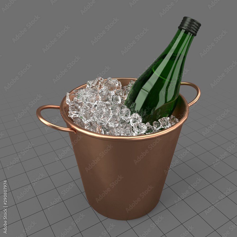 Fototapety, obrazy: Vermouth bottle in ice bucket