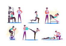 Set Of Couples Exercising. Men And Women Doing Sport In Gym. Sport Concept. Vector Illustration Can Be Used For Presentation, Project, Webpage
