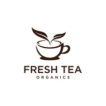Illustration Of Warm Tea Cup With Smoke Replaced By Two Leaves That Indicate The Ingredients Are Still Fresh.
