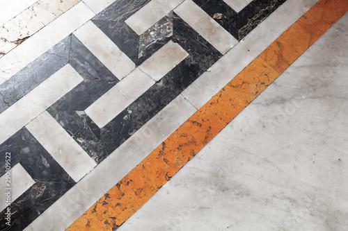Retro stone mosaic floor tiling