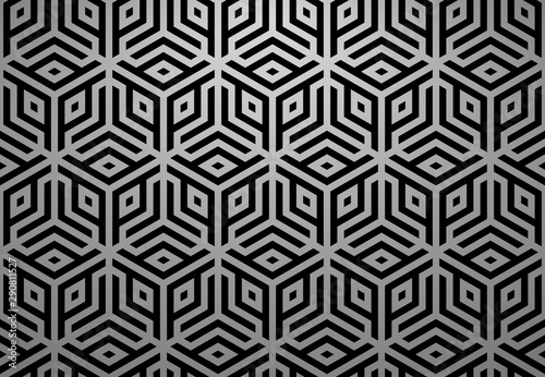Fototapeten Künstlich Abstract geometric pattern. A seamless vector background. Black and grey ornament. Graphic modern pattern. Simple lattice graphic design