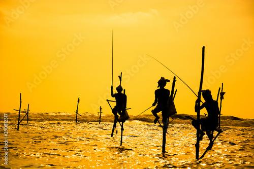Traditional stilt fisherman in Sri Lanka Wallpaper Mural