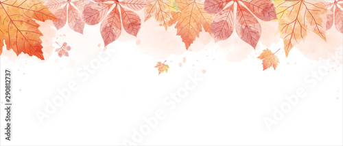 Obraz Watercolor drawing of falling red leaves in autumn season. Aim used for wallpaper background and web banner. - fototapety do salonu