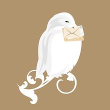 Cute White Snowy Owl Holding M...