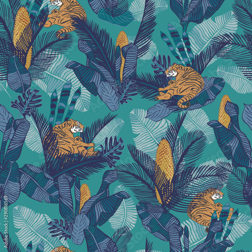 Relaxing tiger with exotic plants in the jungle seamless vector tropical background for fabric, wallpaper, home decor projects Fototapete