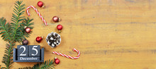 Christmas Background With Christmas Decoration And Vintage Calendar