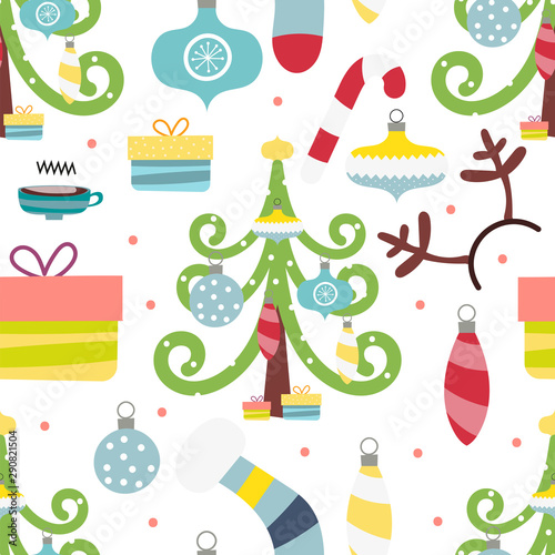 Seamless pattern for Christmas on white background with elements Christmas. Cute pattern for gift wrapping paper, t-shirts, greeting cards. Vector illustration. Scandinavian style.
