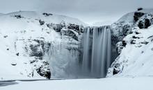 Skogafoss Waterfall In Winter,...