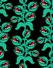 Flytrap Monster Plant Pattern Seamless. Flower Predator Carnivorous Plant Background . Angry Flowers With Teeth Ornament