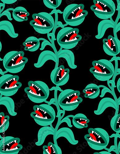 Flytrap monster plant pattern seamless Tableau sur Toile