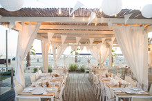 Beautiful Wedding Setup Tables  On The Beach