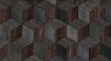 Drewniana tekstura dla tła. Ciemny parkiet grunge z wzorem kostki. - 290824518