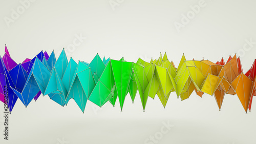 rainbow low poly background from deformed plane Fototapeta