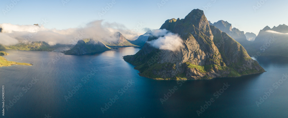 Fototapety, obrazy: Aerial summer sky panorama  view of  norway mountains, lofoten, vacation travel concept