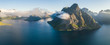 Aerial summer sky panorama  view of  norway mountains, lofoten, vacation travel concept