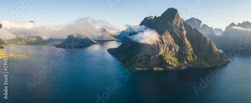 Photo sur Aluminium Ponts Aerial summer sky panorama view of norway mountains, lofoten, vacation travel concept