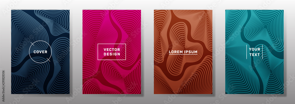 Fototapeta Fluid curve shapes geometric lines patterns in trendy colors.