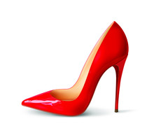 Beautiful Female Shoes On A White Background, Sexy Shoes, Classic. High-heeled Shoes, Patent Leather Shoes. 3D Effect. Vector Illustration. EPS10