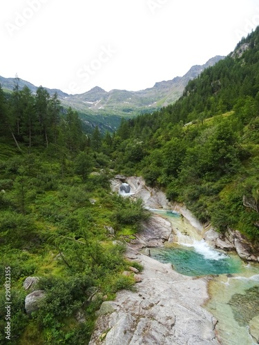 Printed kitchen splashbacks Forest river The woods and the nature of the Anzasca valley, at the foot of Monte Rosa, near the town of Macugnaga, Italy - August 2019.