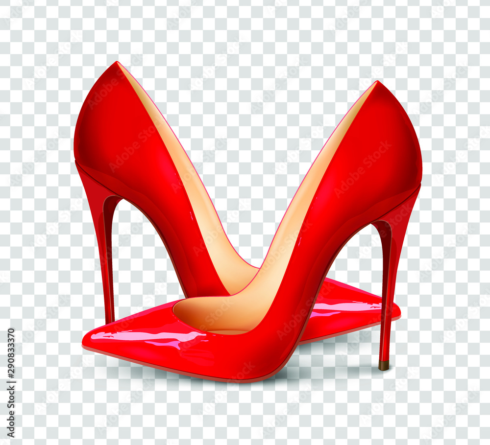 Fototapeta A pair of beautiful female shoes on a transparent background, sexy shoes, classic. High-heeled shoes, patent leather shoes. 3D effect. Vector illustration. EPS10