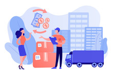 Express Delivery Service Flat Vector Illustration. Urban Cargo Trucking, Goods Transportation Business, Cash Refund, Parcel Return Concept. Young Woman And Courier In Uniform Cartoon Characters