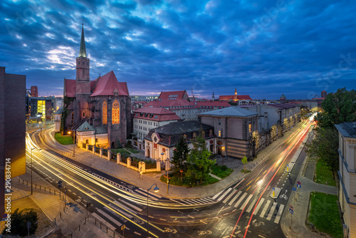 Fototapety, obrazy: Wroclaw, Poland. Aerial cityscape at dusk with St. Adalbert's Church