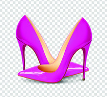 A Pair Of Beautiful Female Shoes On A Transparent Background, Sexy Shoes, Classic. High-heeled Shoes, Patent Leather Shoes. 3D Effect. Vector Illustration. EPS10