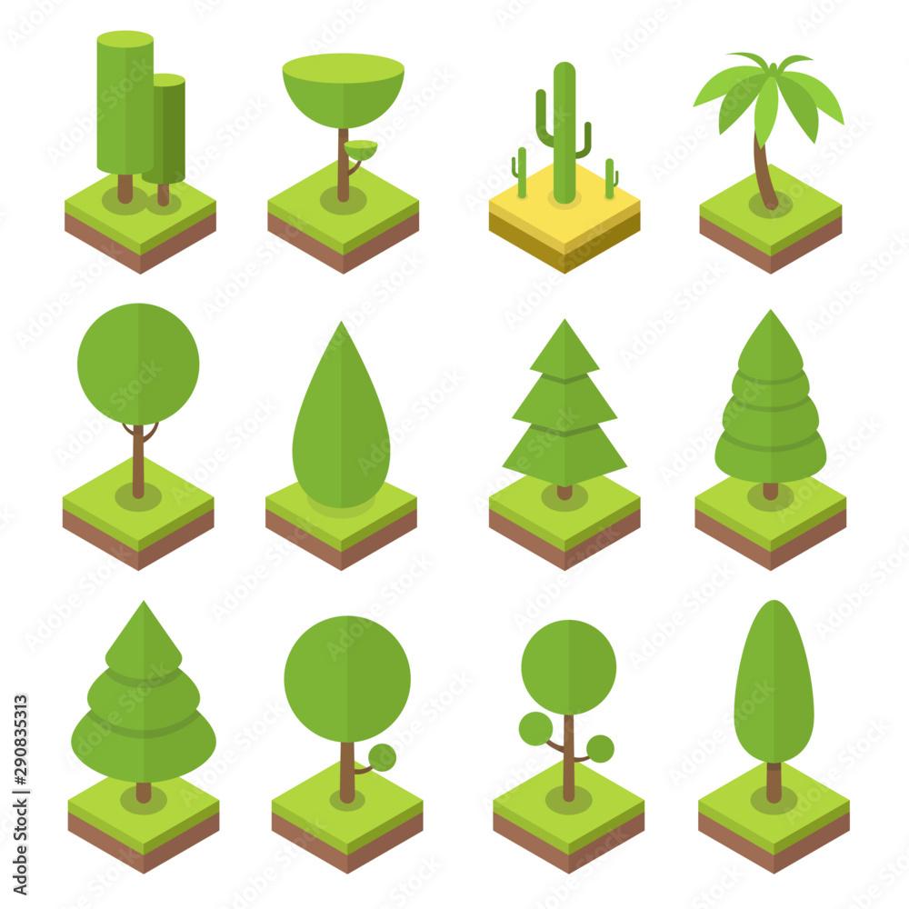 Fototapety, obrazy: Isometric tree set. Big and small trees, pine, shrubs, felled trees, cacti, palms. Vector illustration.